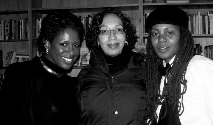 Me, JP Howard, founder of Women Writers in Bloom  Poetry Salon, and poet, photographer and friend Akinfe Fatou. Indigo Souls United Collective presents Groove Therapy Session @ Bluestockings Bookstore NYC - 1/9/12