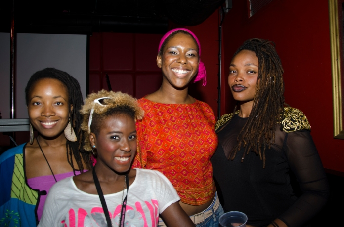 From left to right, friend and  designer T. Leacock, a concert attendee, me, and Kalae Nouveau. Click pic for story.