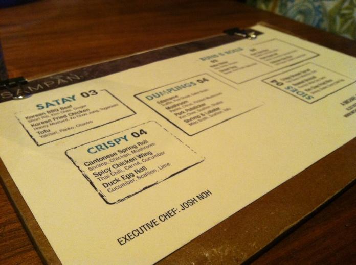 happy hour menu at sampan