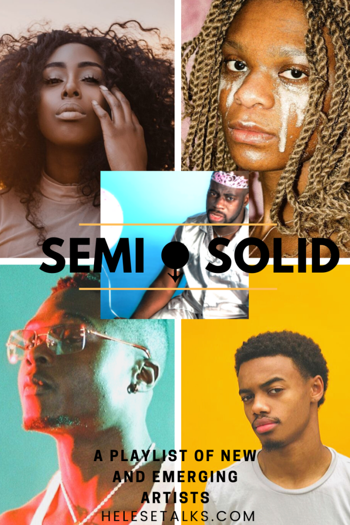SemiSolid is a playlist of new and emerging artists in music. Clockwise: Brandy Haze, Serena Isioma, Toye, Marcus Charles, and Nnamdi (center)